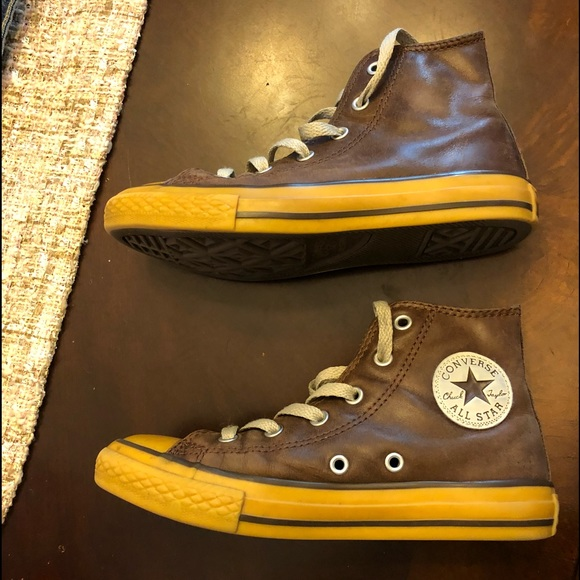 f56827ef6eac Converse Other - Boys distressed brown leather hi top converse